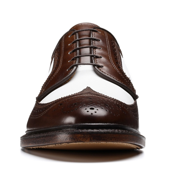 brown burnished calf white leather summit avenue wingtip