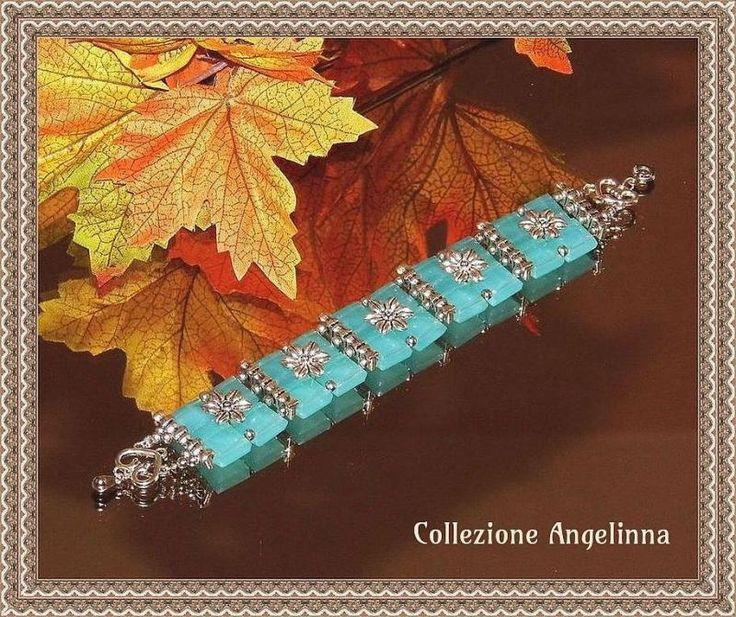 Armband Quarz Türkisblau Tibetsilber Blumen | KunstiX
