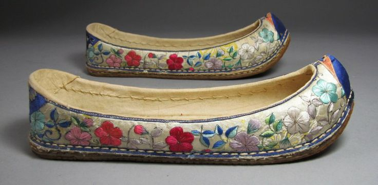 Embroidered Flower Shoes, silk, late 19th C.