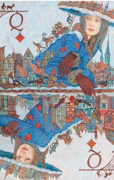 «Зима в Эльзасе. Бубновая дама». Из серии «Карты путешествия». 47х60, смешанная техника,2006. Деревня Кишарино - Sanary sur Mer в высоком разрешении смотреть тут-http://www.ftart.com/galereja/igra-strasti/