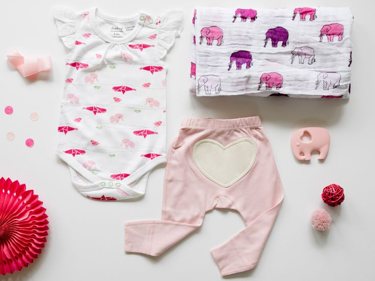 Cute baby girl gift hamper | Elle | Sapling Dusty Pink Heart Pants | Young Willow