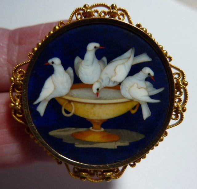 Victorian Lapis Lazuli Pietra Dura Brooch of Pliny's Doves set in 18K Gold