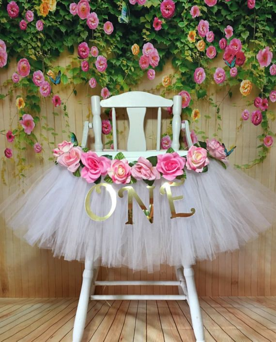 High Chair Tutu - Highchair Tutu Skirt - Pink and White Highchair tutu - Highchair skirt - High Chair Skirt-1st Birthday- High Chair Banner