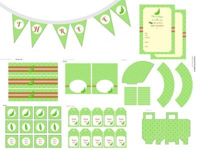 Free Three Peas in a Pod, Triplets Baby Shower Pack