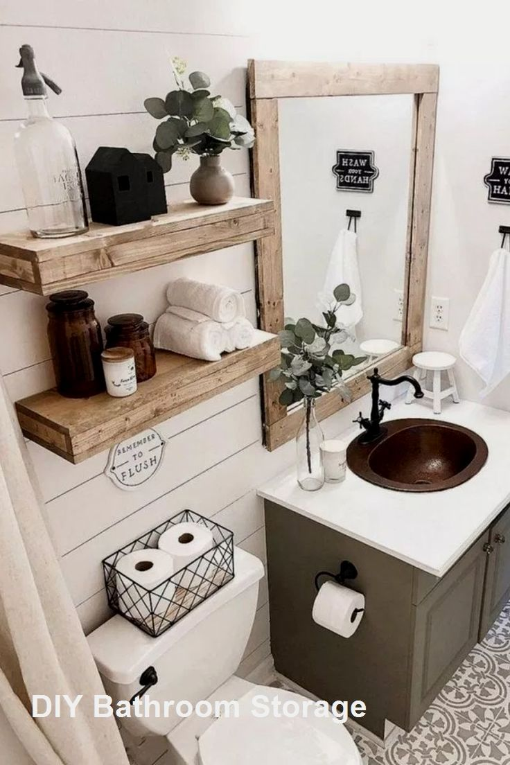 New Diy Bathroom Storage Ideas In 2020 Diy Bathroom Storage Rustic Bathroom Ideas Farmhouse Diy Bathroom