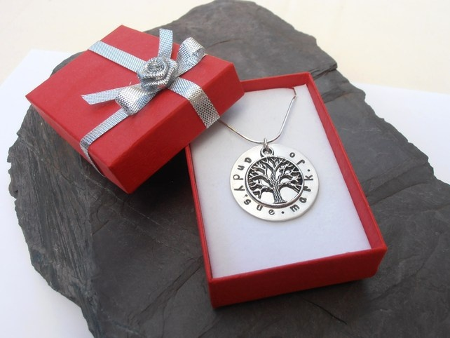 Family Tree Pendant sterling silver stamping now up to 34 characters with font seen or my handwritten font