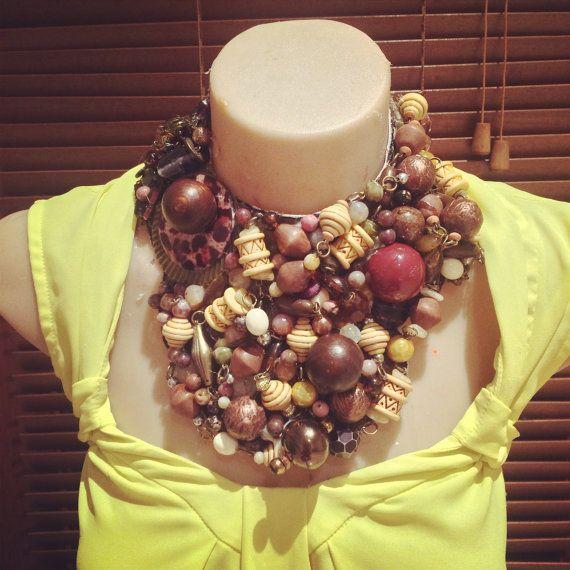 JUNGLE BOOGIE brown, cream, yellow and bronze statement bib collage collar necklace