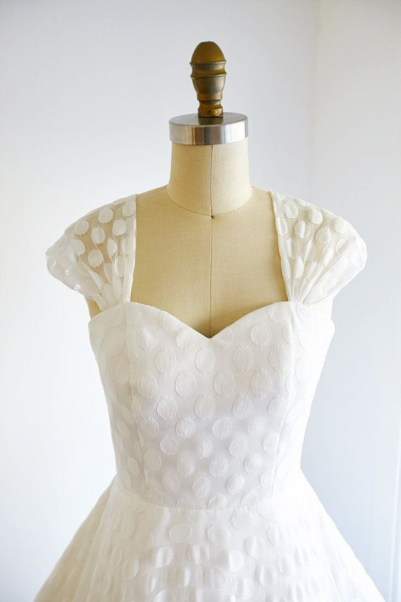 Vintage Cap Sleeves Polka Dots Lace Wedding Dress by ABoverly1