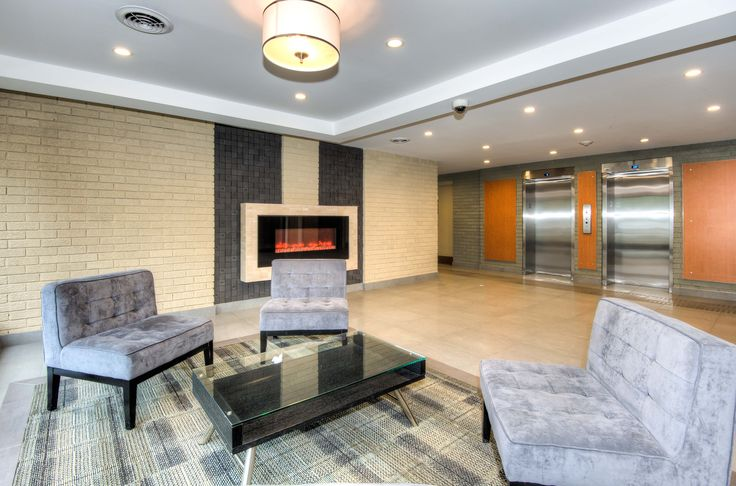 Modern lobby at Rosemount Apartments, 2386 New Street. For more information or to book a viewing please visit www.clvgroup.com or email Burlington@clvgroup.com