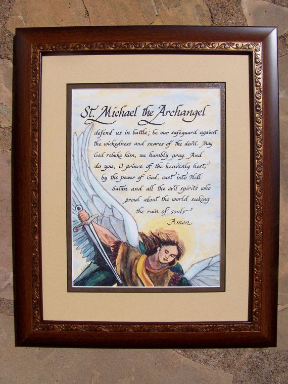 St Michael the archangel defend us in battle framed and matted calligraphy and art picture gift