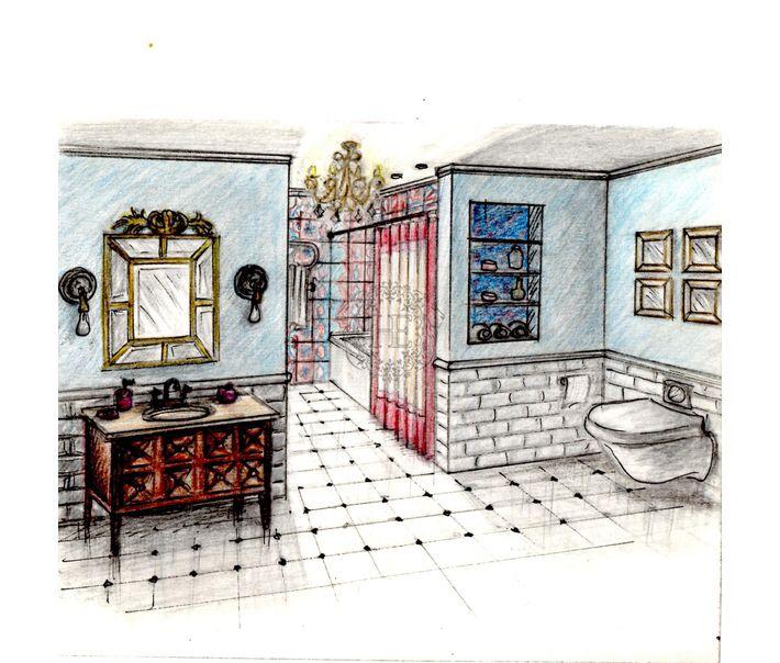 Эскиз. Ванная комната. Общая площадь 16м2