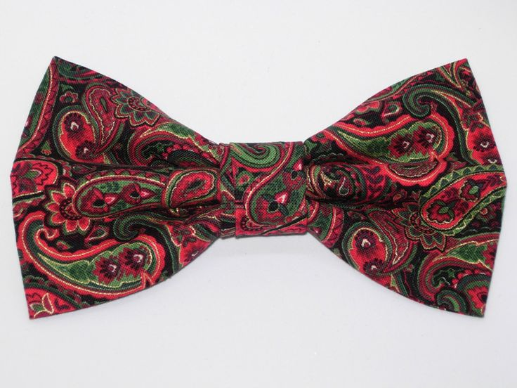 Pre tied bow tie - Red, green and blue paisley Notch