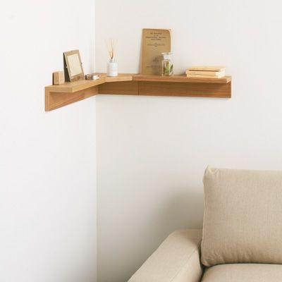 壁に付けられる家具・コーナー棚・タモ材/ナチュラル 幅22×奥行22×高さ10cm | 無印良品ネットストア