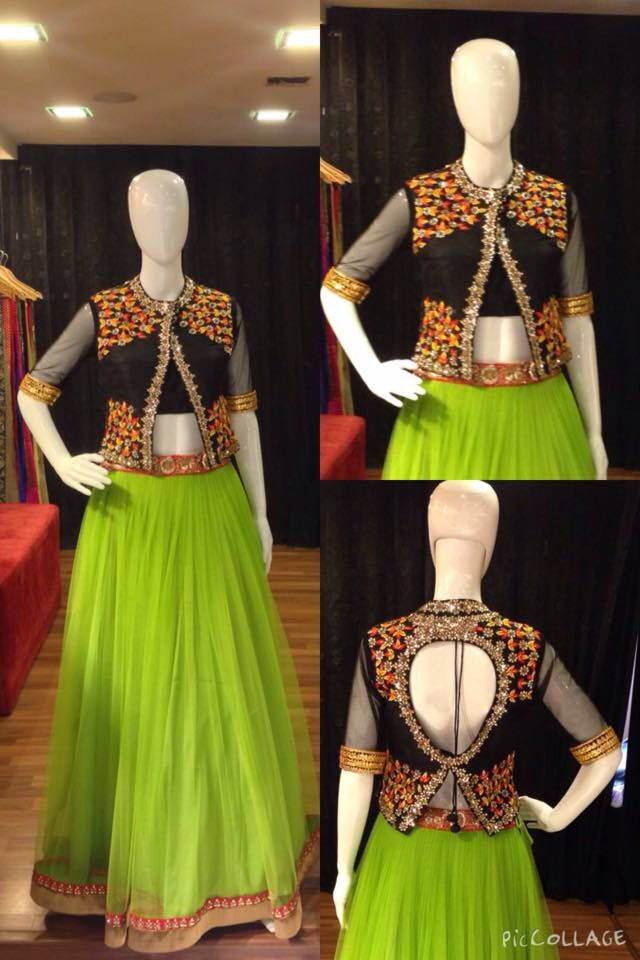 Green Lehenga With Black Jacket Blouse Blouse