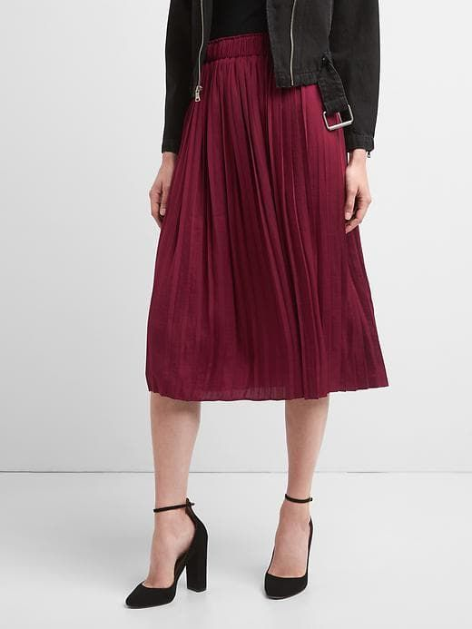 Gap Womens Pleated Midi Skirt Red Delicious