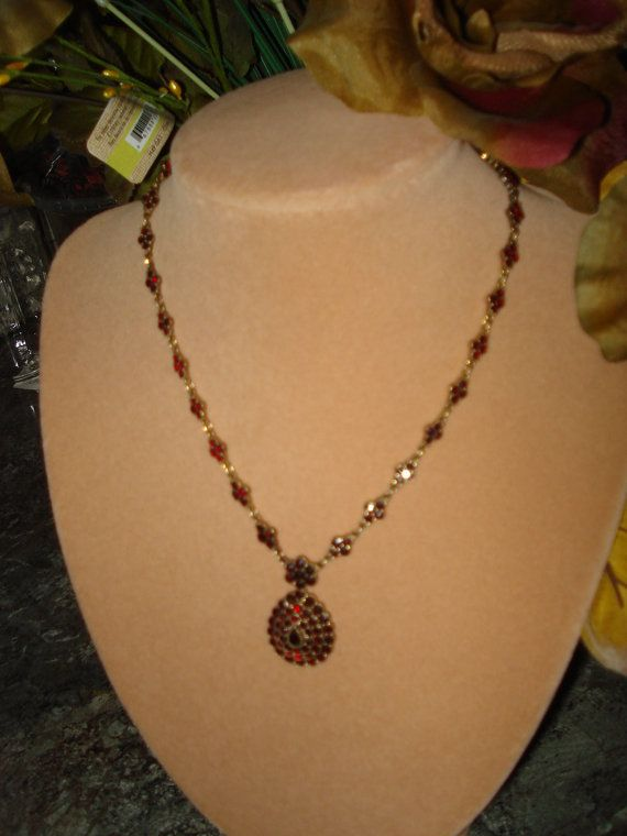Antique Vermeil Bohemian Garnet Necklace