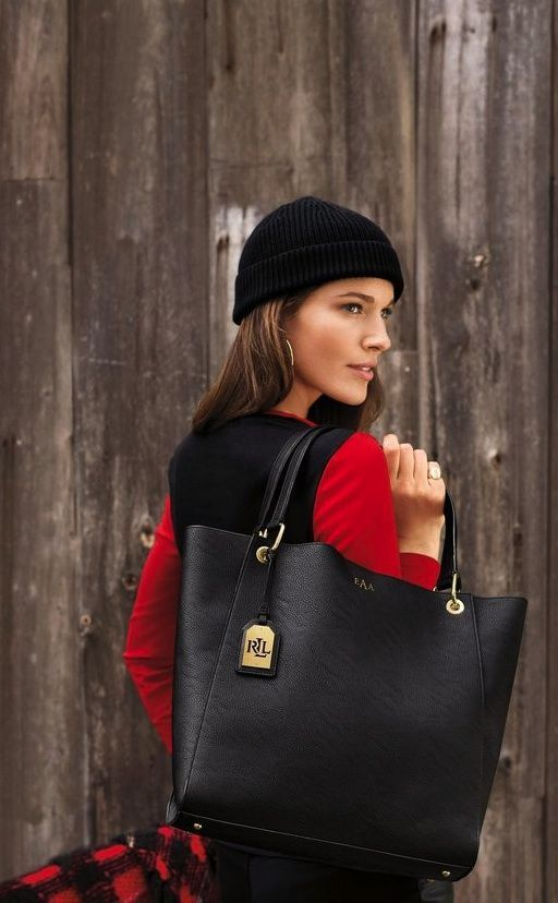 9afbdaf34f The Lauren Ralph Lauren leather Aiden tote is the perfect gift for the woman  on he go.