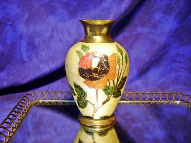 Piękny ręcznie malowany wazon mosiądz