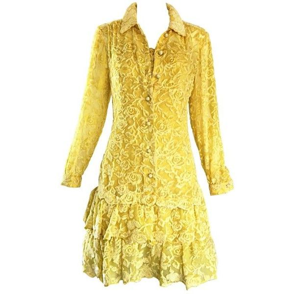 Preowned James Galanos Vintage Canary Yellow Silk + Velvet Burn Out... (€1.420) ❤ liked on Polyvore featuring dresses, suits, yellow, long sleeve dresses, button down dress, long sleeve vintage dresses, vintage velvet dress and vintage dresses