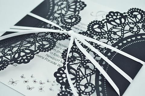 love these lace invitesLace Weddings, Black Lace, Lace Invitations, Paper Doilies, Black And White, White Lace, Butterflies Lace, Wedding Invitations With Lace, Lace Wedding Invitations