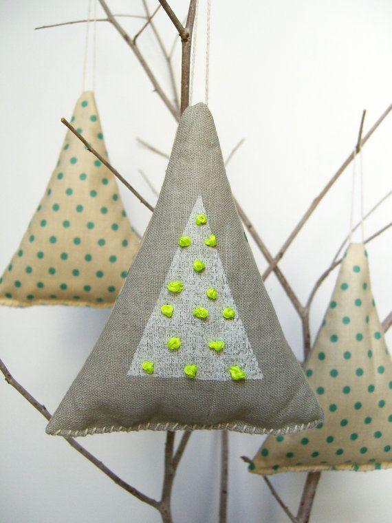Balsam Fir Christmas Tree Ornament Sachets with Neon and Polka Dots - Set of 3. $28.00, via Etsy.