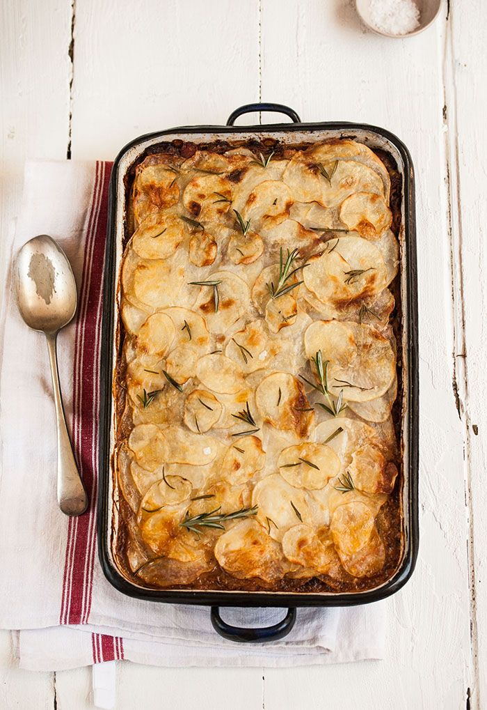 A delicious rustic lamb pie with potato galette topping #recipes #pie