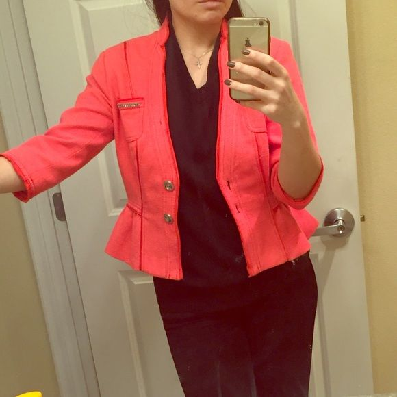 Bright colored coral jacket by White and Black Bright colored coral jacket by White and Black. Size 4. Excellent condition. Light tweed like material. Has metal details in the front. Very chic. True to size. No tears anywhere. Wore a few times. White House Black Market Jackets & Coats Blazers