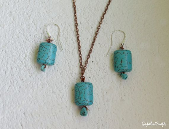 Square shaped blue turquoises set of jewelry wire handmade