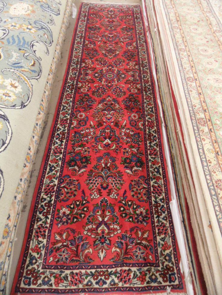 3 X 11 Red Sarouk Runner Hand Knotted In Iran Genuine Persian Rug