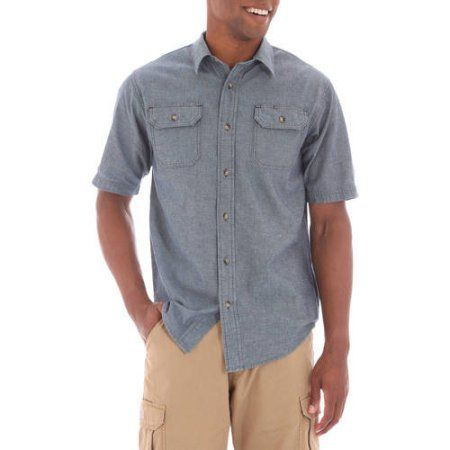 Wrangler Big Men's Short Sleeve Shirt with Pencil Pocket, Size: 3XT, Blue