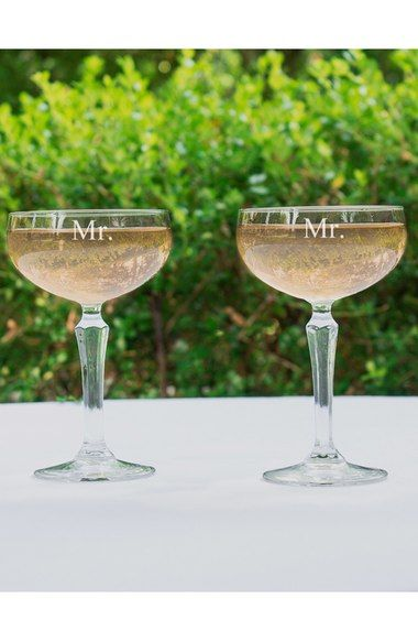 Cathy's Concepts 'For the Couple' Etched Champagne Coupe Toasting Glasses (Set of 2) available at #Nordstrom