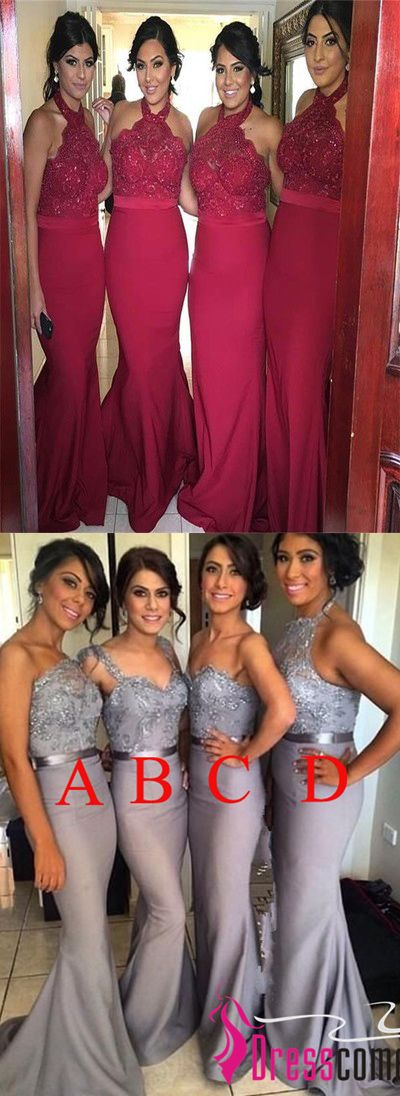 New Arrival Burgundy Lace Bridesmaid Dresses,Halter Mermaid Bridesmaid Dresses,Backless Wine Red Bridesmaid Gowns Prom Dress,Long Evening Dress