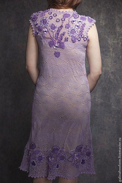 Купить или заказать Платье Сиреневые сны в интернет-магазине на Ярмарке Мастеров. Эксклюзивное авторское платье, связанное из итальянских ниток высочайшего качества. Вес платья всего 340 грамм. Мелкая сеточка придает платью легкость. Цветы как бы парят в невесомости, напоминая утренний сон. Из всех существующих в природе цветов нет более загадочного, магического,чарующего,утонченного и женственного цвета,чем сиреневый Сиреневое платье на красивой женщине-это стильно и…