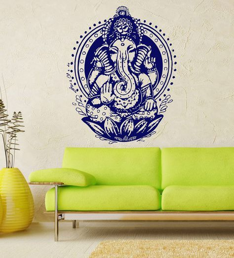 Ganesh Ganesha Elephant Lord of Success Hindu Hand God Buddha India Housewares Wall Vinyl Decal Design Interior Bedroom Decor Sticker SV4151 on Etsy, $24.99