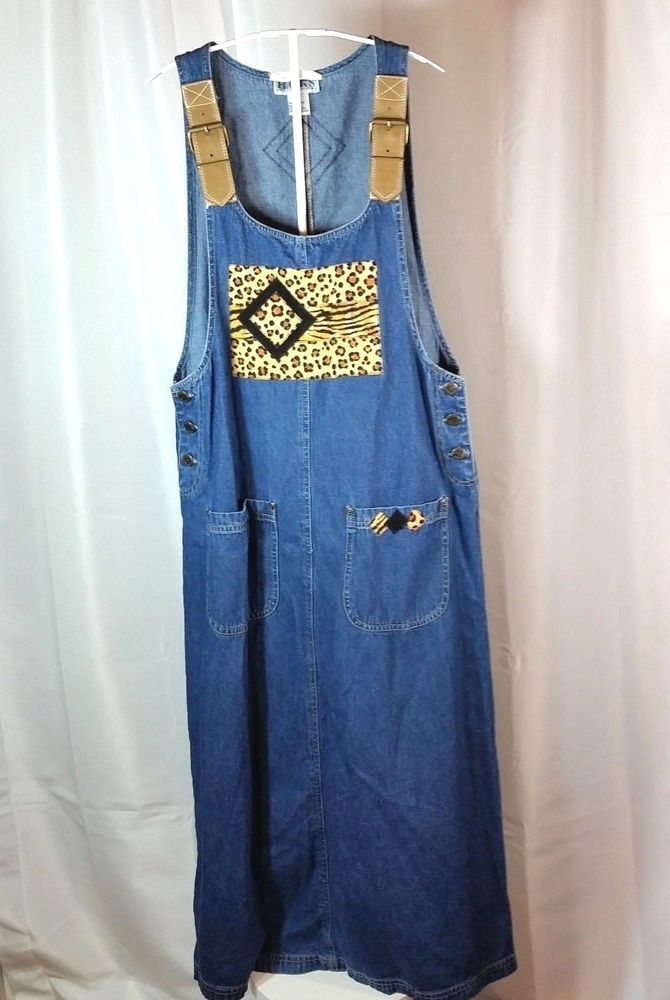 dd840c1190 Haiks Denim Jean Dress Medium Overall Jumper Maxi Modest Animal Print  Patches