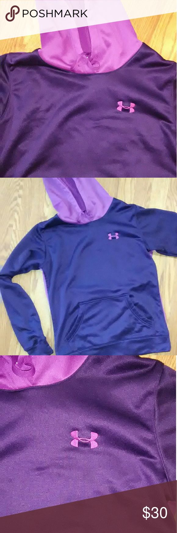 Under Armour Hoodie Excellent condition Purple and lavender in color  Very comfortable and cute Women's XS would fit a girls large Under Armour Tops Sweatshirts & Hoodies