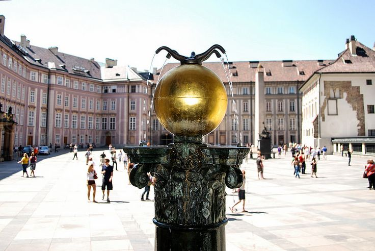 Fountain in a courtyard at Prague Castle - Prague, Czech Republic