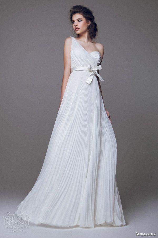 blumarine 2015 bridal one shouldeer pleated wedding dress  #wedding #dress #bride
