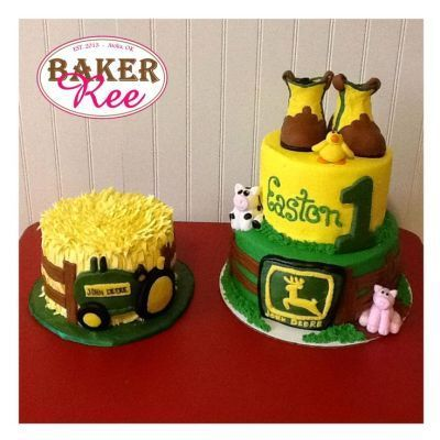 John Deere birthday cake presentation.  See more John Deere birthday party ideas at www.one-stop-party-ideas.com