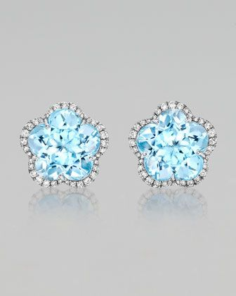 Grace Flower Blue Topaz & Diamond Earrings by Kiki McDonough at Neiman Marcus.