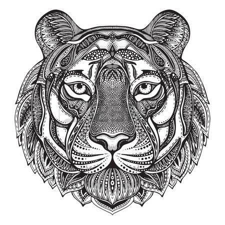 tatouage: Hand drawn graphique tigre orné ethnique floral illustration doodle pattern.Vector pour livre de coloriage, tatouage, impression sur t-shirt, sac. Isolé sur un fond blanc. Illustration