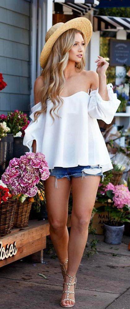 #summer #outfits  Light Hat + White Off The Shoulder Top + Denim Short