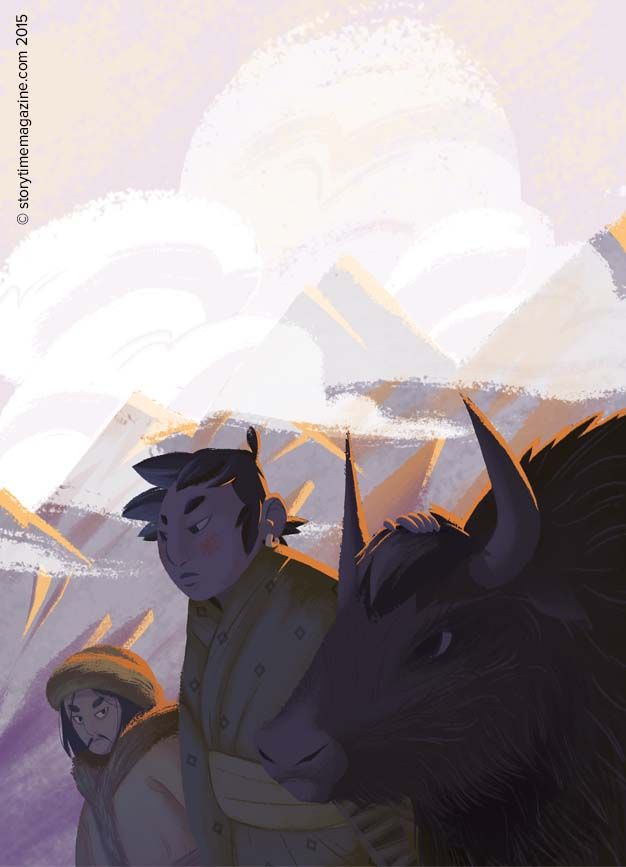 A fantastic Nepalese folk tale with yaks and witches! Illustration by Marine…