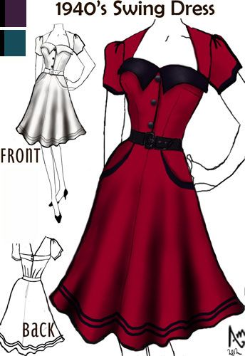 1940s Swing Dress.  These dresses were cut so perfectly for the female form.