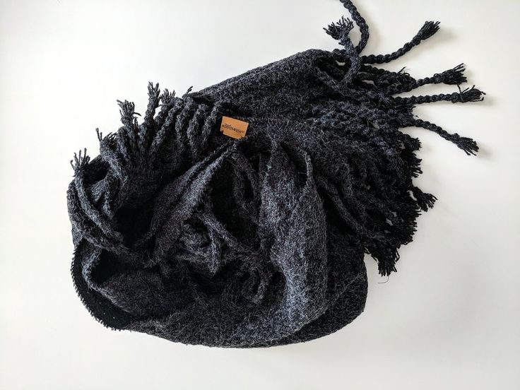 Black Twisted Tassel Blanket Scarf