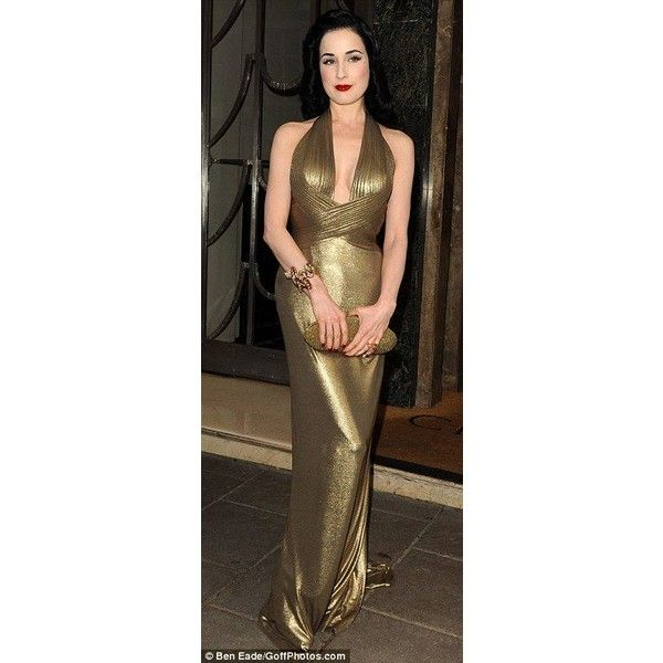 Same dress, different colour! Dita Von Teese sticks to floor-length... ❤ liked on Polyvore featuring dresses, gowns, floor length ball gowns, gold ball gowns, gold evening dresses, green evening gown and full length gowns
