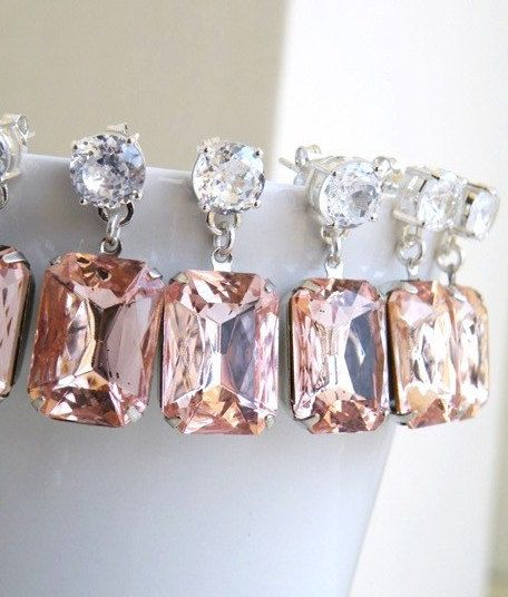 #Pastel pink wedding ... Bridal Earrings Pastel Pink Foiled Stone Jewel Silver Stud Bella E31-3 for Bridesmaids Set of 3 pairs Wedding Jewelry. via Etsy.