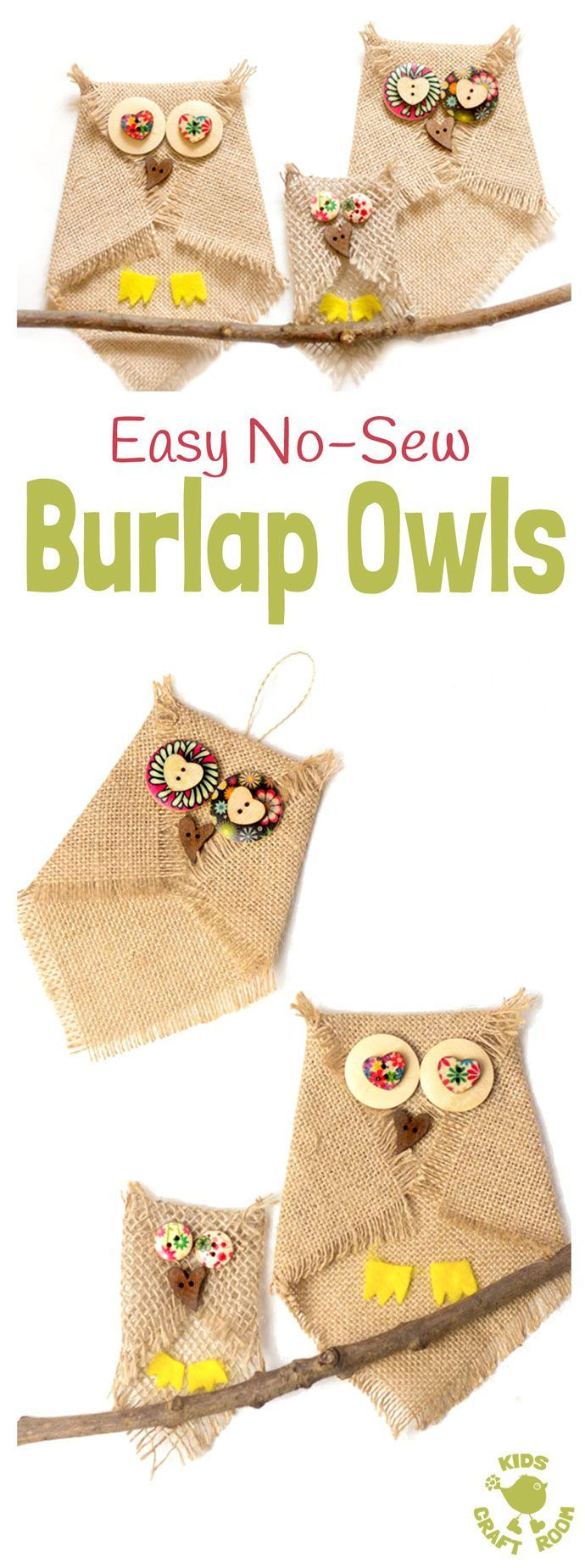 BUTTON AND BURLAP OWL CRAFT - Adorable no-sew burlap craft. An easy owl craft for kids and grown ups that can be used to make lots of lovely unique homemade owl gifts or owl ornaments. Who can resist a cute button craft?