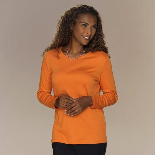 Classic fit crew neck top with long sleeves.   Knitted in 100% silky soft Pima Cotton.  SaveSaveSaveSaveSave
