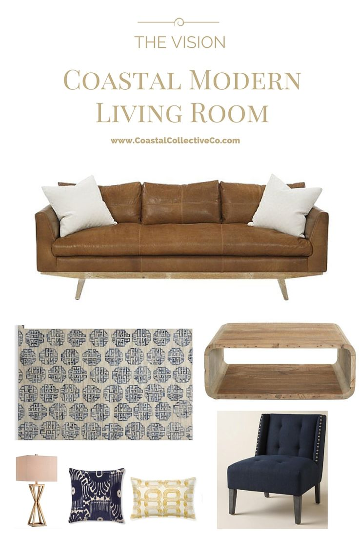 Coastal Modern Living Room with leather and navy